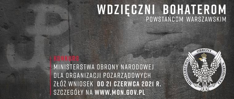 Grafika z napisem Wdzięczni bohenreom - powstańcom warszawskim